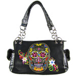 BLACK SKULL WITH FLOWER BACKGROUND LOOK SHOULDER HANDBAG HB1-9SUKABLK