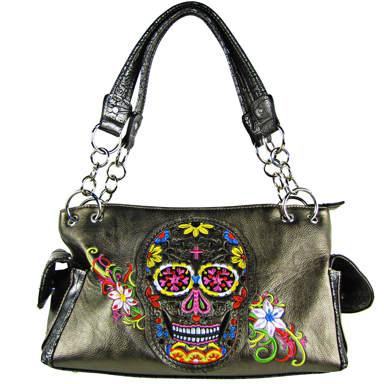GRAY SKULL WITH FLOWER BACKGROUND LOOK SHOULDER HANDBAG HB1-9SUKAGRY