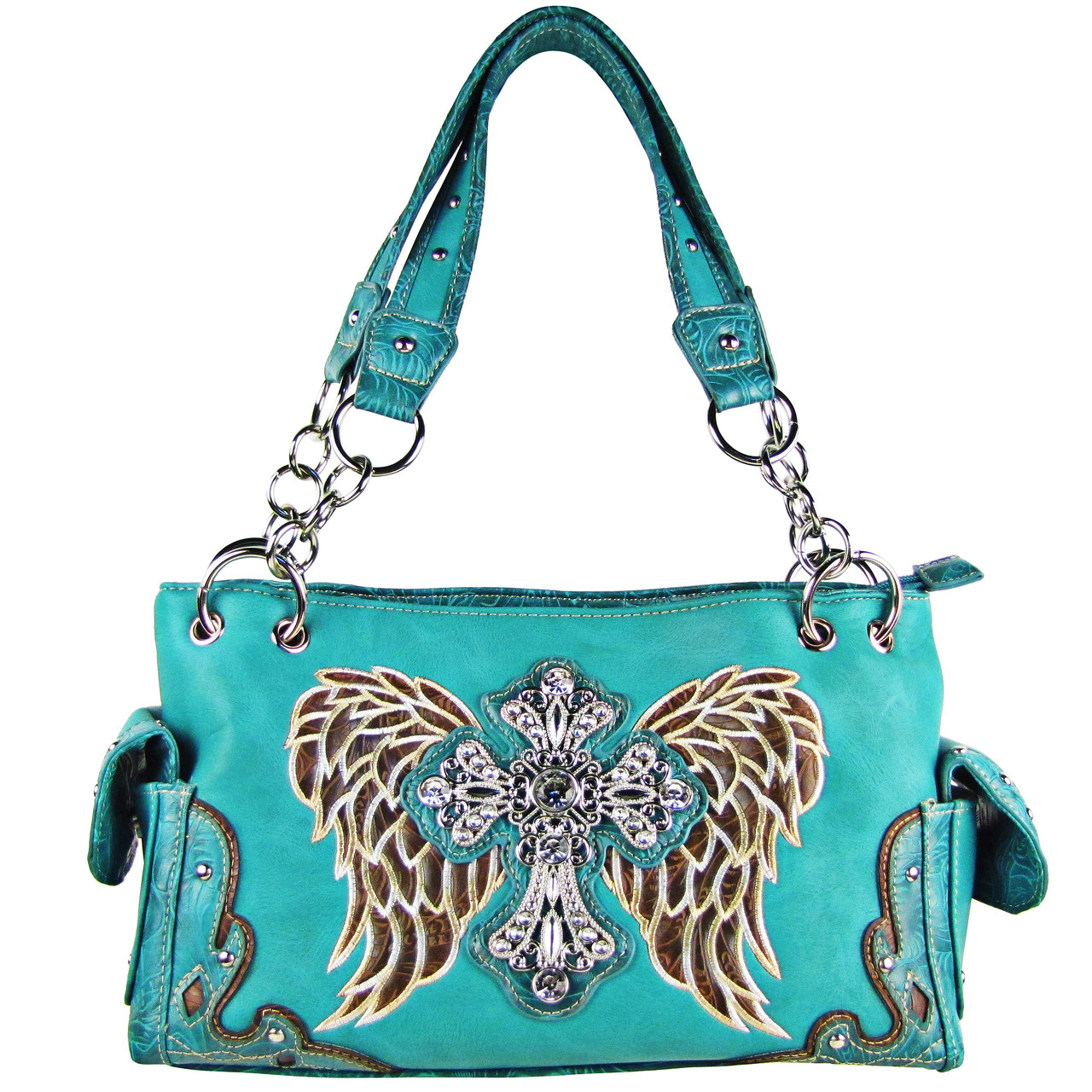 TURQUOISE RHINESTONE CROSS WITH WINGS LOOK SHOULDER HANDBAG HB1-61LCRTRQ