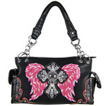 BLACK HOT PINK RHINESTONE CROSS WITH WINGS LOOK SHOULDER HANDBAG HB1-61LCRBHP