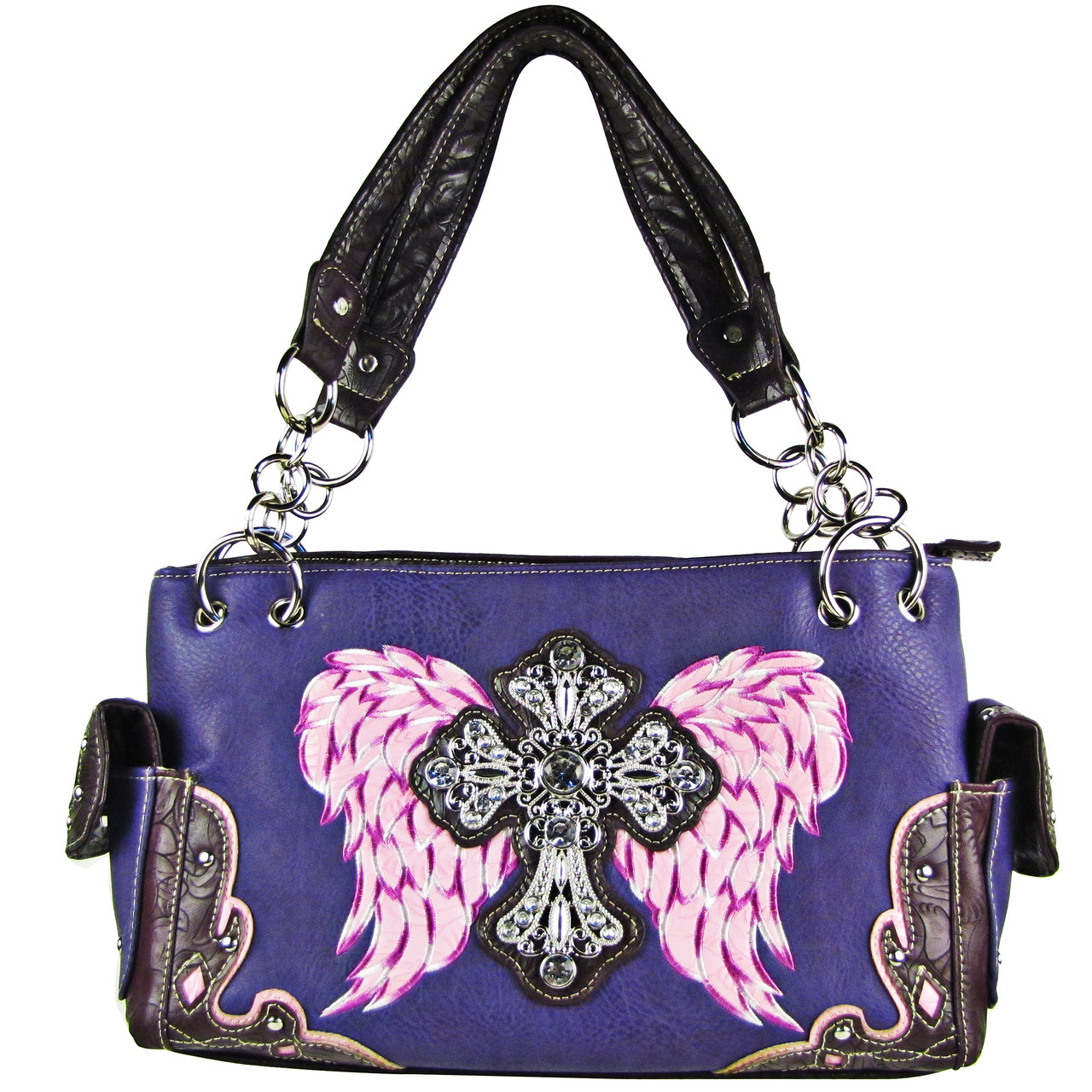 PURPLE RHINESTONE CROSS WITH WINGS LOOK SHOULDER HANDBAG HB1-61LCRPPL