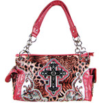 PINK LEOPARD STUDDED RHINESTONE CROSS LOOK SHOULDER HANDBAG HB1-LTLCRPNK