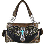 BLACK WESTERN CROSS WITH WINGS AND BROWN SEQUENCE LOOK SHOULDER HANDBAG HB1-52LCR-SBLK