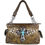 BROWN WESTERN CROSS WITH WINGS AND WHITE SEQUENCE LOOK SHOULDER HANDBAG HB1-52LCR-SBRN