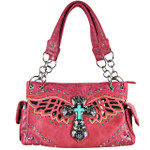 HOT PINK WESTERN CROSS WITH WINGS AND BROWN SEQUENCE LOOK SHOULDER HANDBAG HB1-52LCR-SHPK
