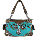 TURQUOISE WESTERN CROSS WITH WINGS AND BROWN SEQUENCE LOOK SHOULDER HANDBAG HB1-52LCR-2-STRQ