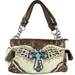 BEIGE WESTERN CROSS WITH WINGS AND BROWN SEQUENCE LOOK SHOULDER HANDBAG HB1-52LCR-SBEI