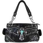 BLACK WESTERN CROSS WITH WINGS AND BLACK SEQUENCE LOOK SHOULDER HANDBAG HB1-52LCR-1-SBLK