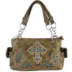 BROWN RHINESTONE CROSS LOOK SHOULDER HANDBAG HB1-70LCRBRN