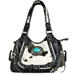 BLACK COW WITH BLUE STONE LOOK SHOULDER HANDBAG HB1-CHF1116BLK