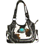 BROWN COW WITH BLUE STONE LOOK SHOULDER HANDBAG HB1-CHF1116BRN