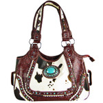RED COW WITH BLUE STONE LOOK SHOULDER HANDBAG HB1-CHF1116RED