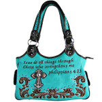 TURQUOISE STUDDED BIBLE VERSE  RHINESTONE CROSS LOOK SHOULDER HANDBAG HB1-CHF1113TRQ
