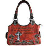 RED STUDDED BIBLE VERSE  RHINESTONE CROSS LOOK SHOULDER HANDBAG HB1-CHF1113RED