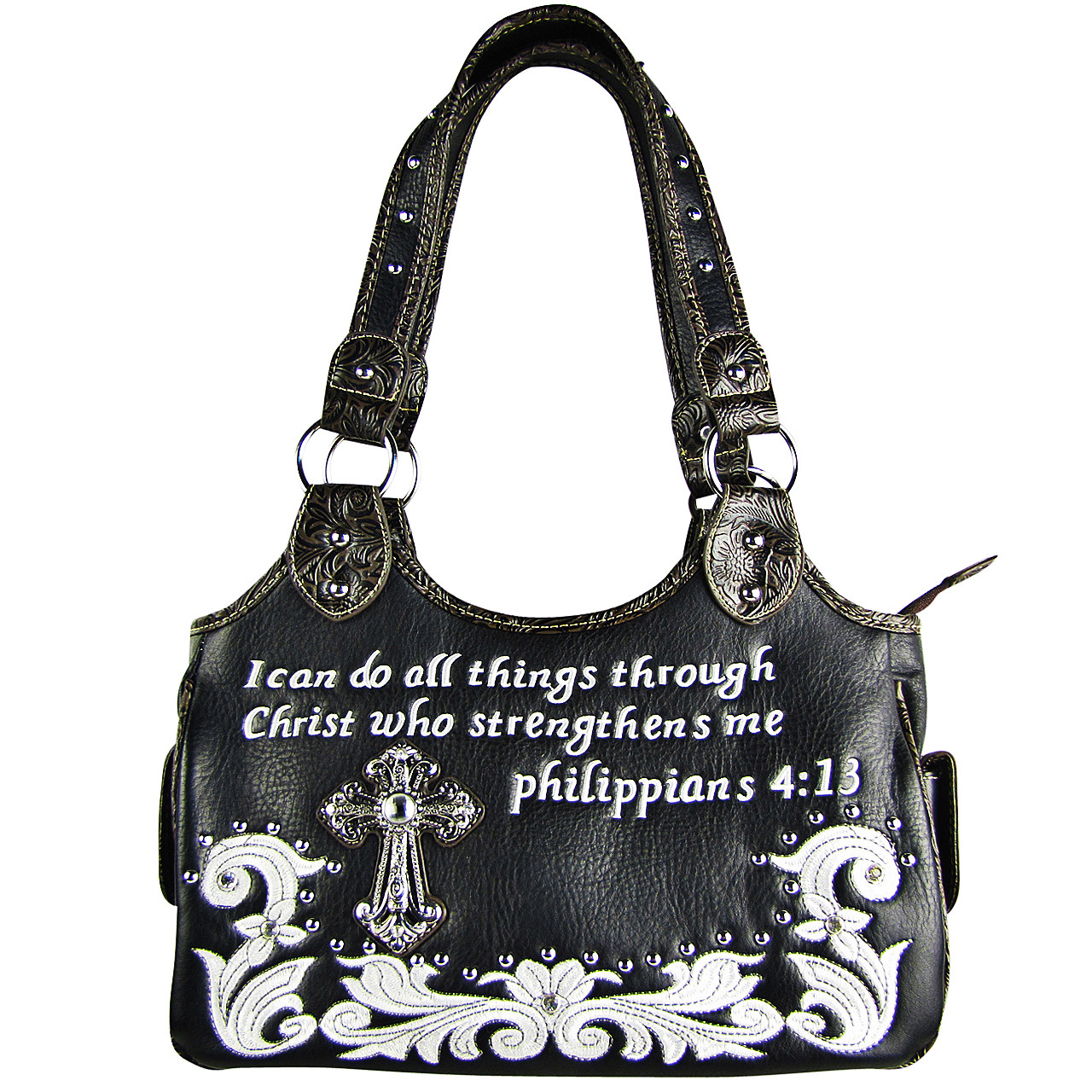 BLACK STUDDED BIBLE VERSE RHINESTONE CROSS LOOK SHOULDER HANDBAG HB1-CHF1113BLK