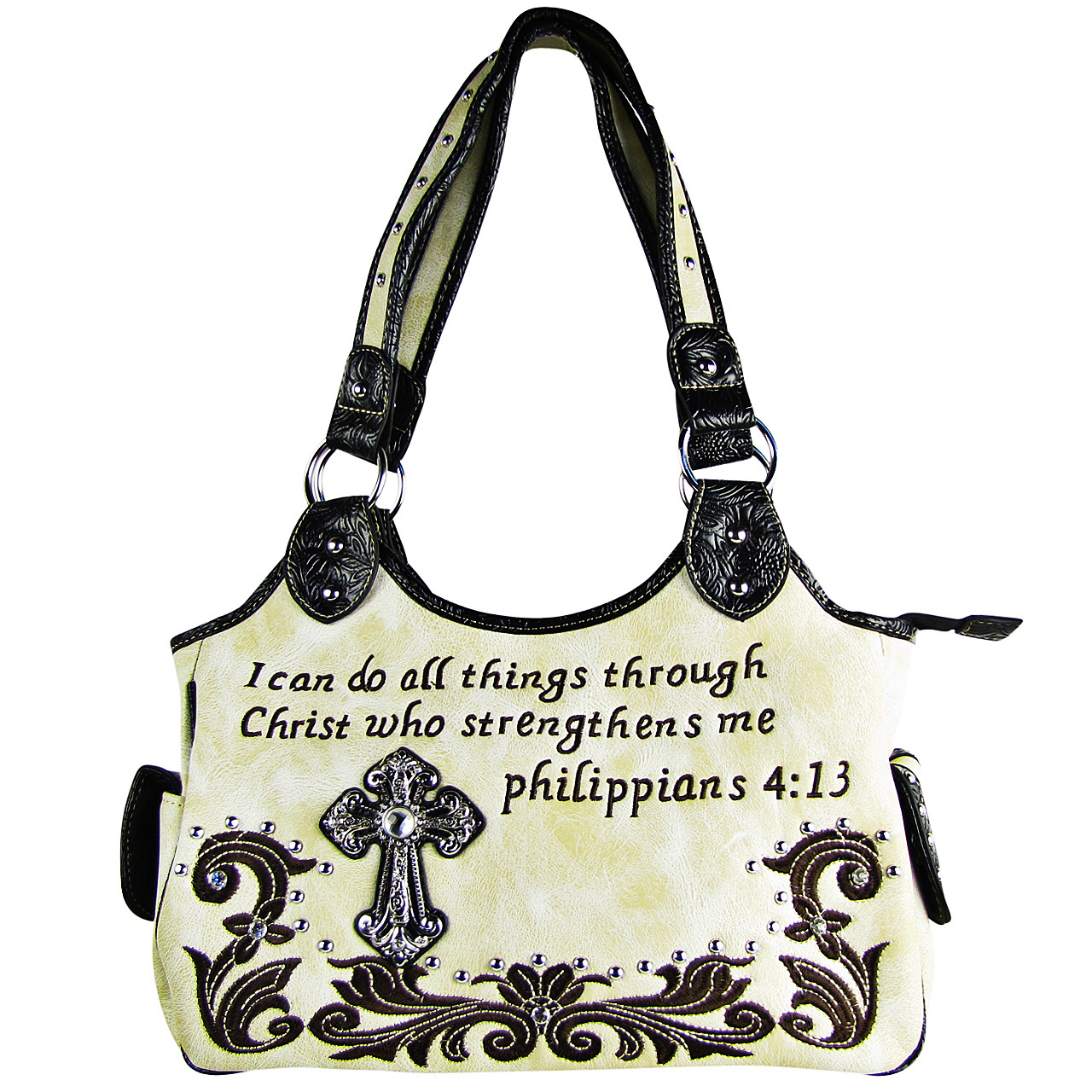 BEIGE STUDDED BIBLE VERSE RHINESTONE CROSS LOOK SHOULDER HANDBAG HB1-CHF1113BEI