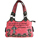 HOT PINK STUDDED BIBLE VERSE  RHINESTONE CROSS LOOK SHOULDER HANDBAG HB1-CHF1113HPK