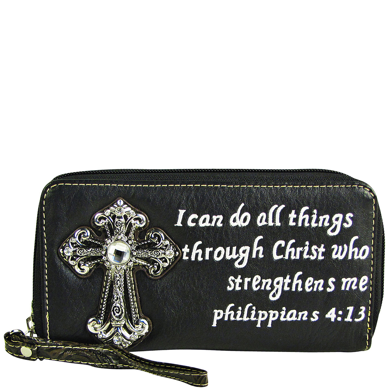 BLACK BIBLE VERSE RHINESTONE CROSS LOOK ZIPPER WALLET CB3-1214BLK
