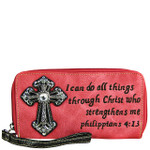 HOT PINK BIBLE VERSE RHINESTONE CROSS LOOK ZIPPER WALLET CB3-1214HPK