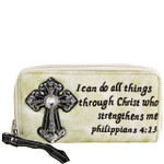BEIGE BIBLE VERSE RHINESTONE CROSS LOOK ZIPPER WALLET CB3-1214BEI