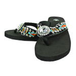 BLACK FLOWER RHINESTONE TRIBAL FASHION FLIP FLOP FF1-S062BLK
