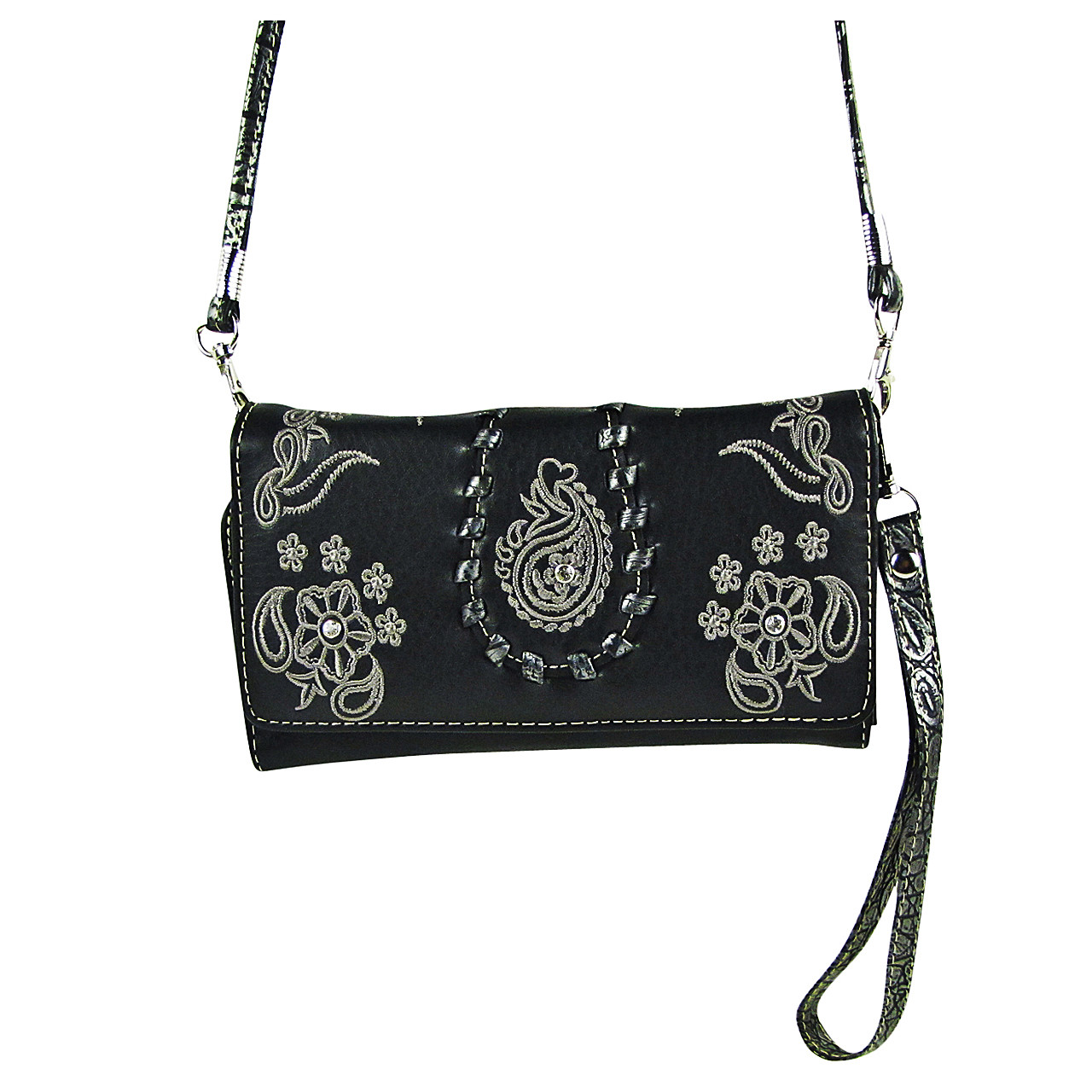 BLACK FLOWER TOOLED LOOK CLUTCH TRIFOLD WALLET CW1-1286BLK