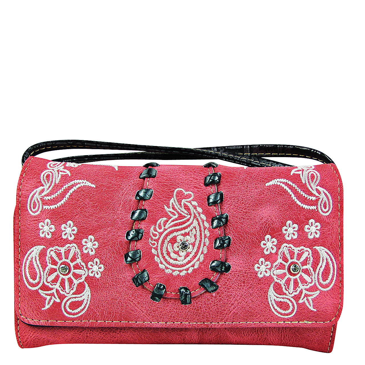 HOT PINK FLOWER TOOLED LOOK CLUTCH TRIFOLD WALLET CW1-1286HPK