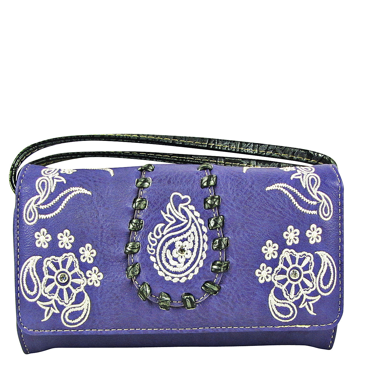 PURPLE FLOWER TOOLED LOOK CLUTCH TRIFOLD WALLET CW1-1286PPL