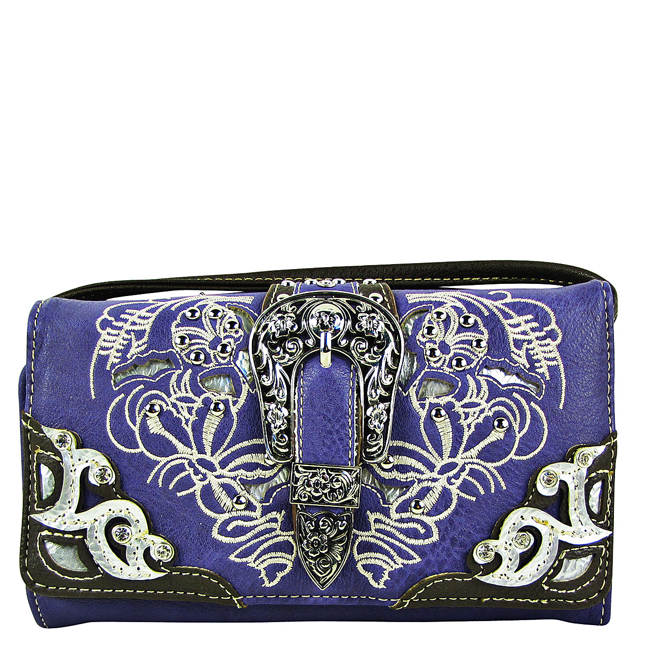 PURPLE STUDDED BUCKLE LOOK CLUTCH TRIFOLD WALLET CW1-1287PPL