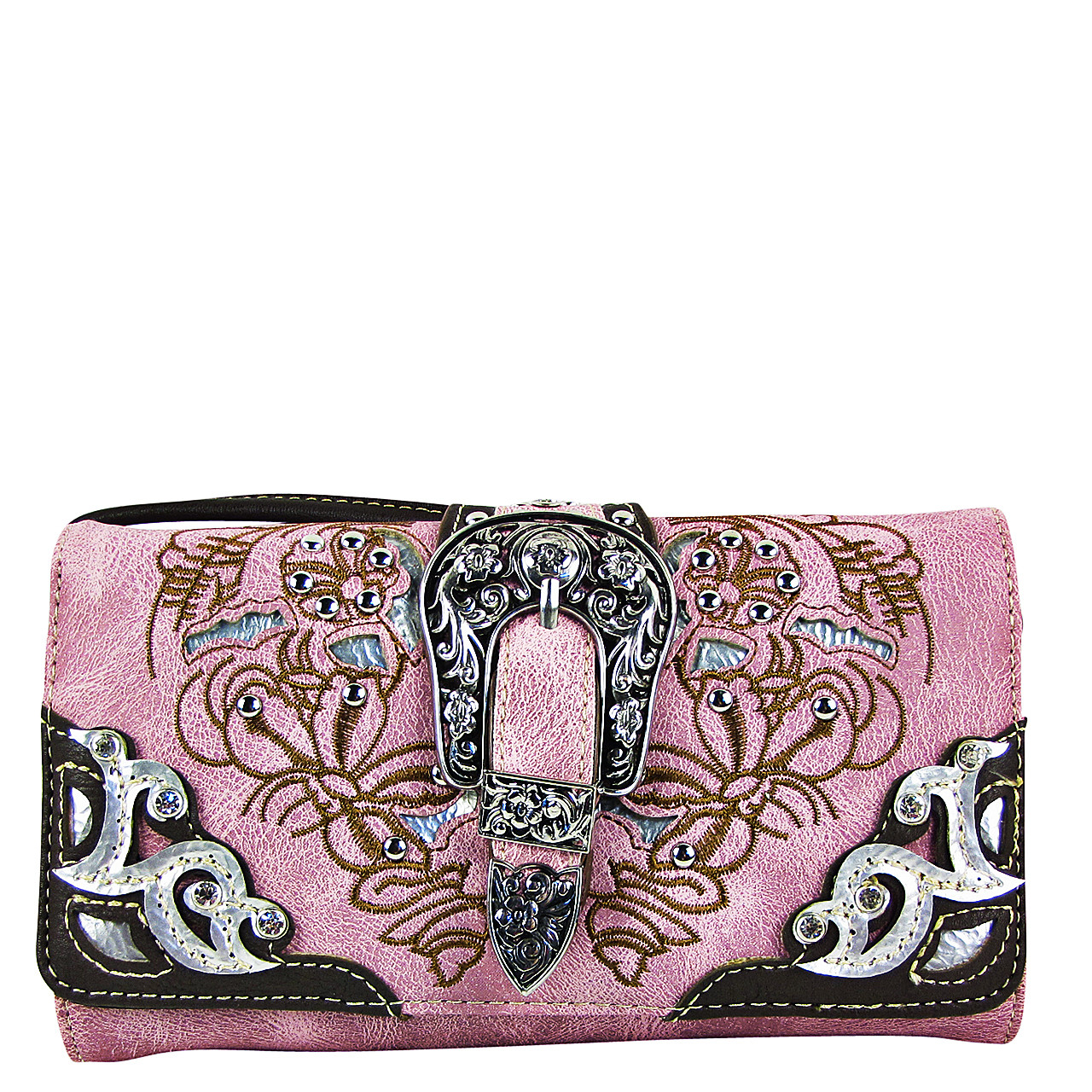 PINK STUDDED BUCKLE LOOK CLUTCH TRIFOLD WALLET CW1-1287PNK