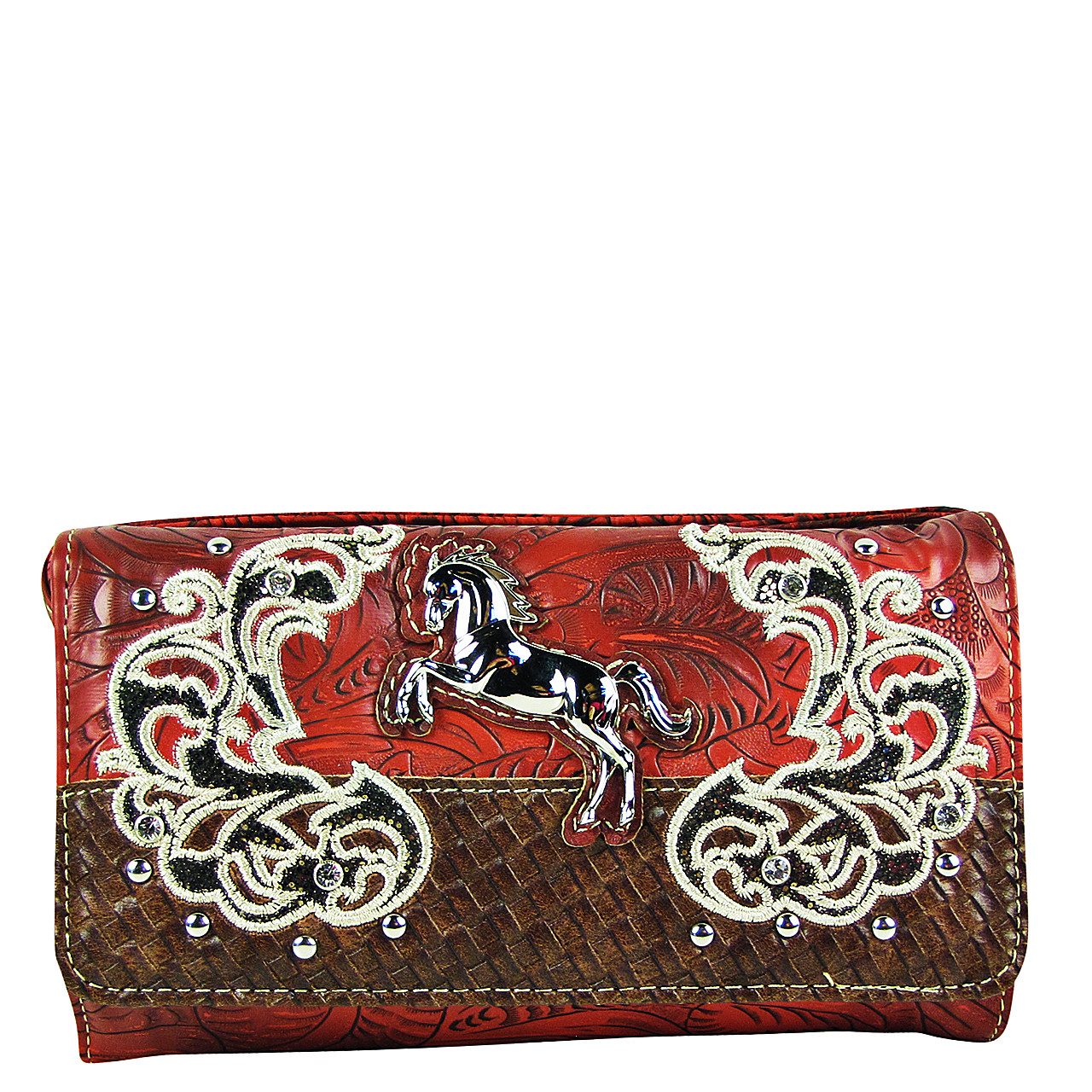RED STUDDED HORSE LOOK CLUTCH TRIFOLD WALLET CW1-1285RED