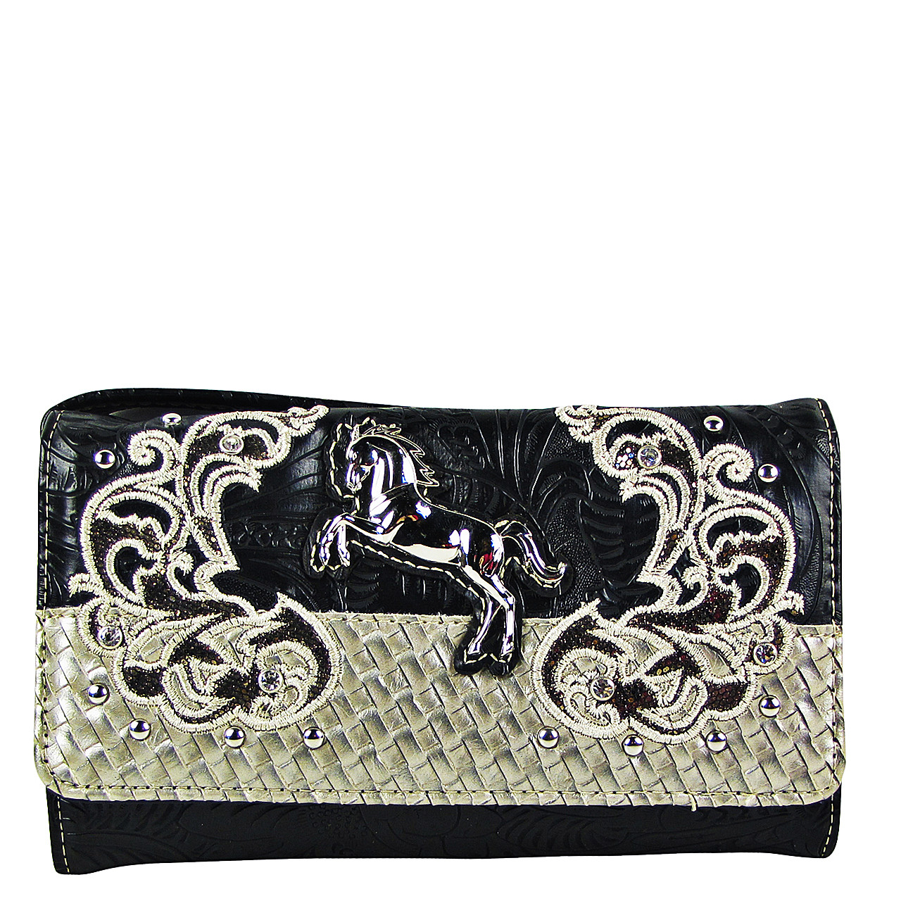 BLACK STUDDED HORSE LOOK CLUTCH TRIFOLD WALLET CW1-1285BLK