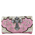 PINK STUDDED RHINESTONE CROSS LOOK CLUTCH TRIFOLD WALLET CW1-0475PNK