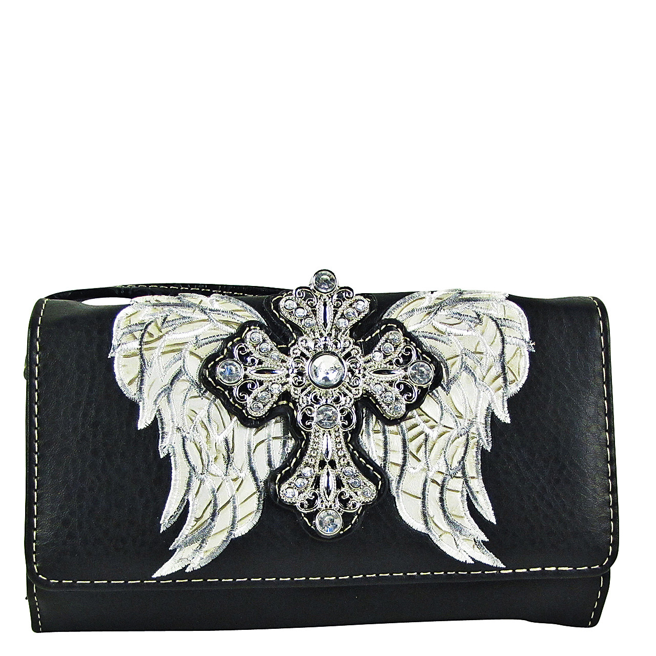 BLACK WINGS WITH RHINESTONE CROSS LOOK CLUTCH TRIFOLD WALLET CW1-0477BLK