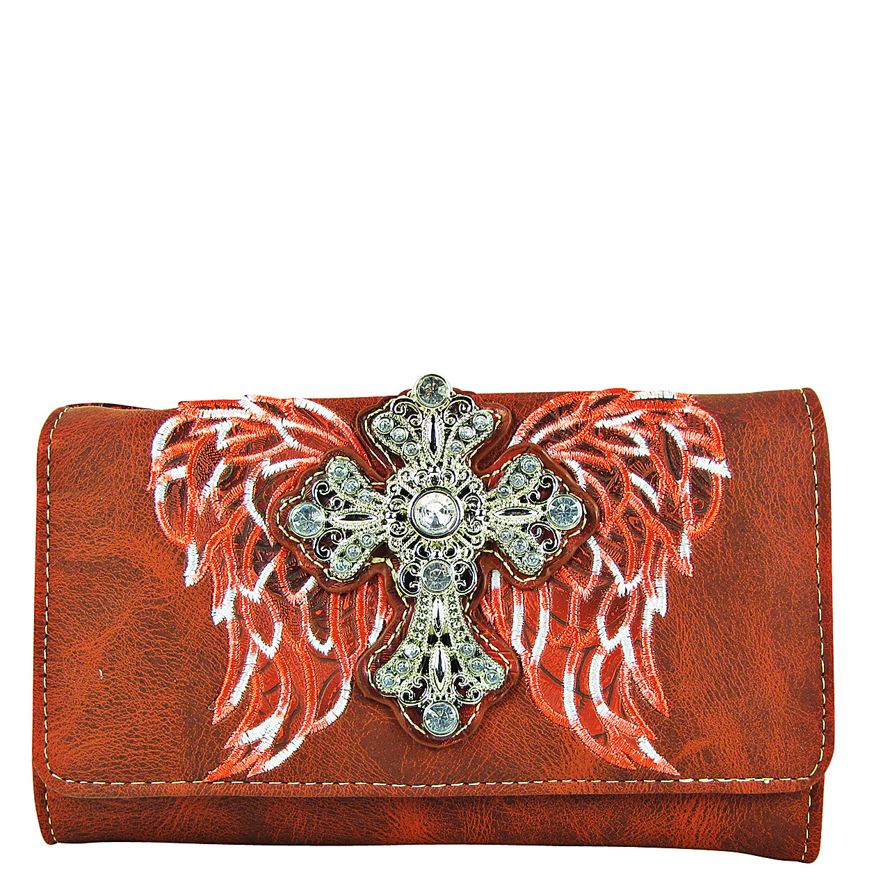 RED WINGS WITH RHINESTONE CROSS LOOK CLUTCH TRIFOLD WALLET CW1-0477RED