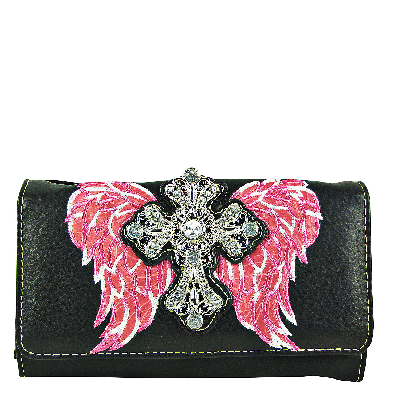 HOT PINK WINGS WITH RHINESTONE CROSS LOOK CLUTCH TRIFOLD WALLET CW1-0477HPK