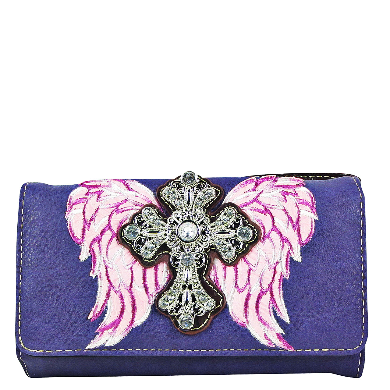 PURPLE WINGS WITH RHINESTONE CROSS LOOK CLUTCH TRIFOLD WALLET CW1-0477PPL