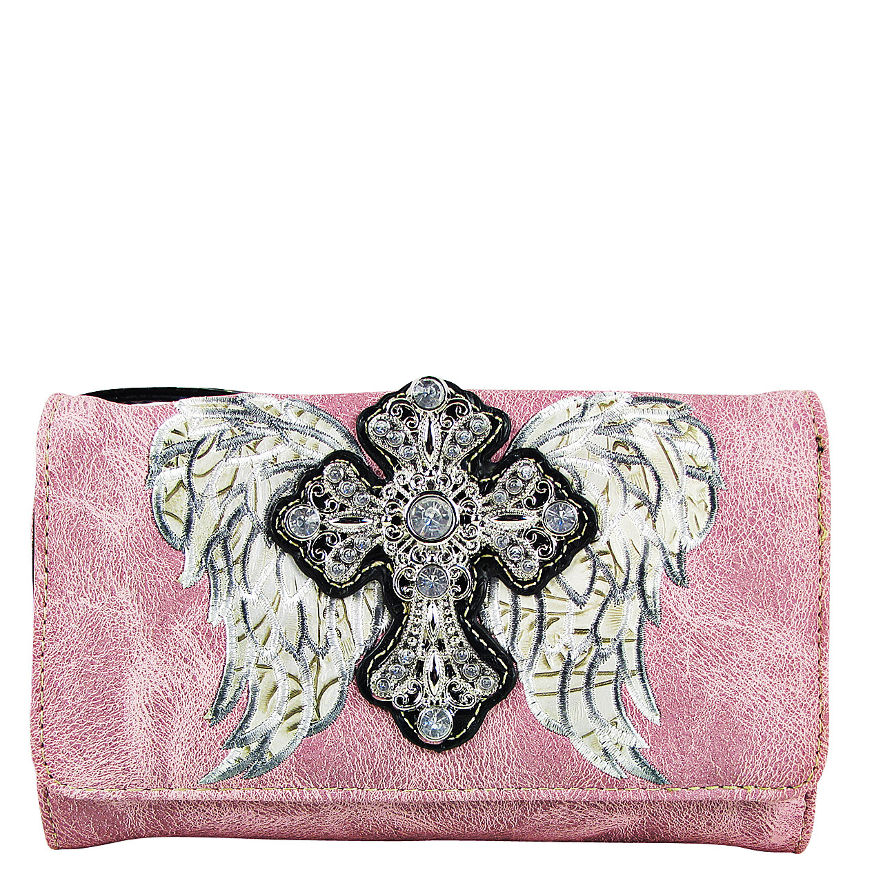 PINK WINGS WITH RHINESTONE CROSS LOOK CLUTCH TRIFOLD WALLET CW1-0477PNK