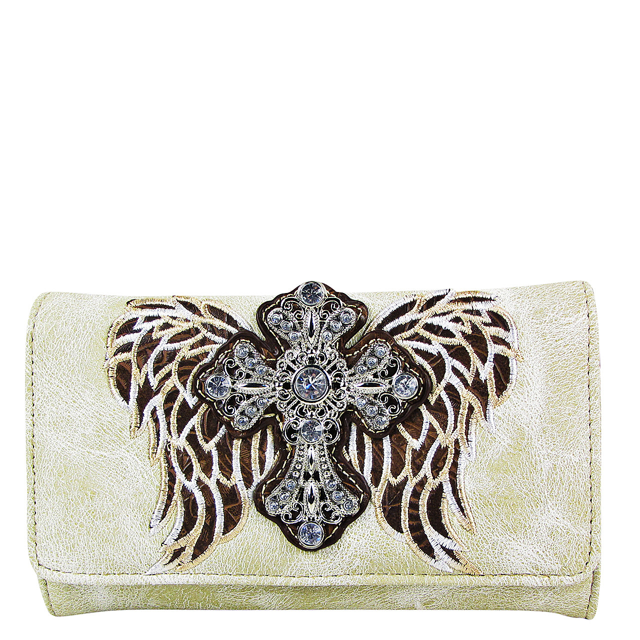 BEIGE WINGS WITH RHINESTONE CROSS LOOK CLUTCH TRIFOLD WALLET CW1-0477BEI