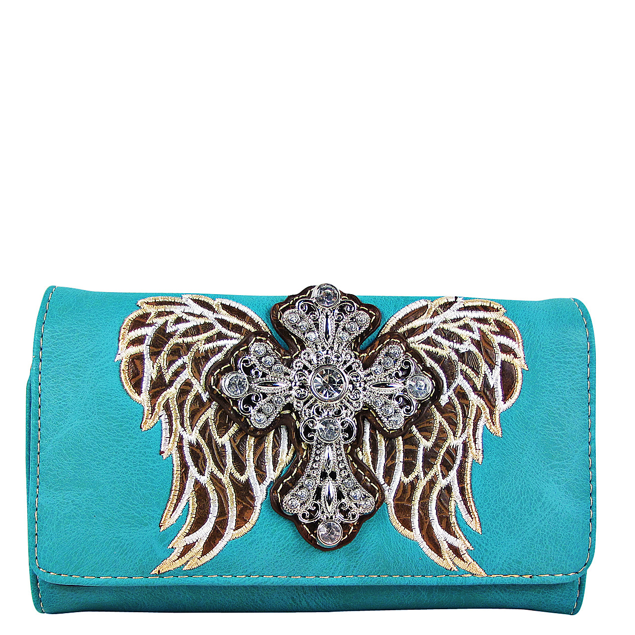 TURQUOISE WINGS WITH RHINESTONE CROSS LOOK CLUTCH TRIFOLD WALLET CW1-0477TRQ