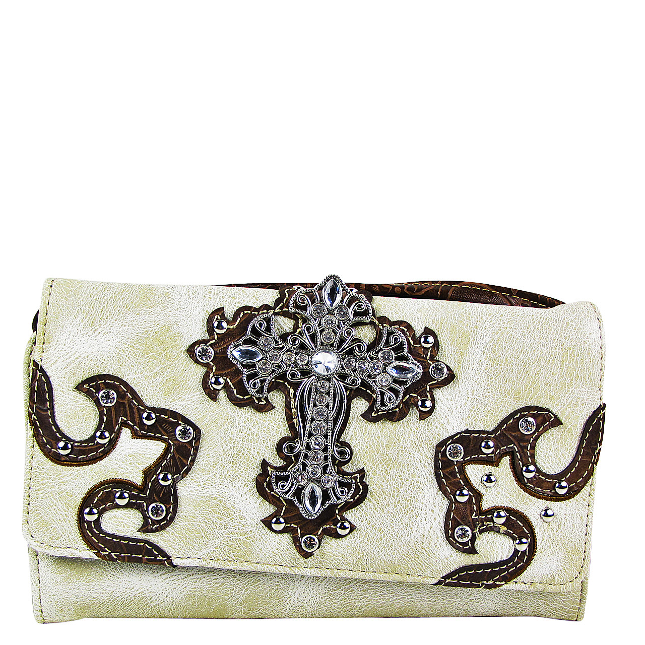 BEIGE RHINESTONE CROSS STITCHING LEATHERETTE LOOK CLUTCH TRIFOLD WALLET CW1-0478BEI