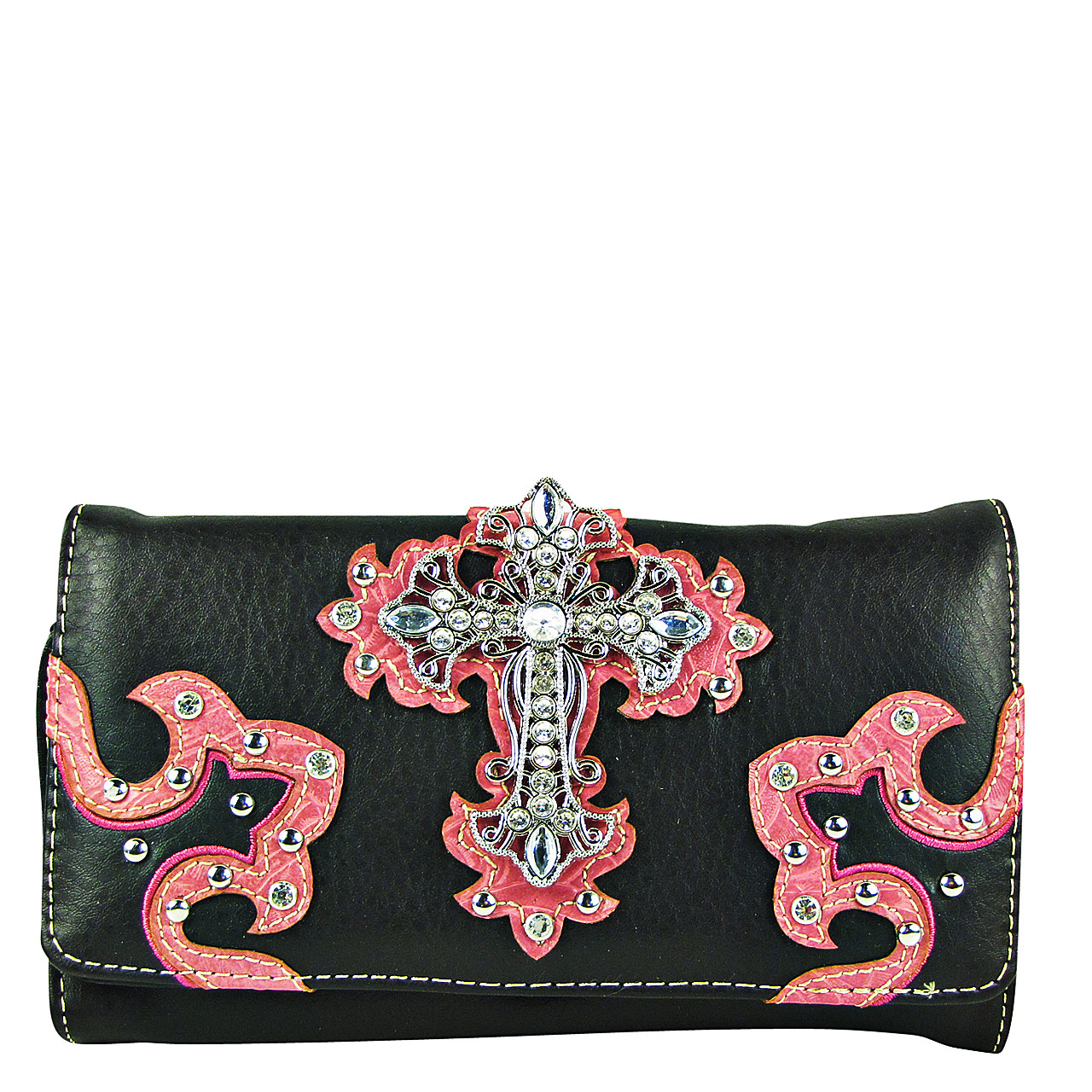HOT PINK RHINESTONE CROSS STITCHING LEATHERETTE LOOK CLUTCH TRIFOLD WALLET CW1-0478HPK