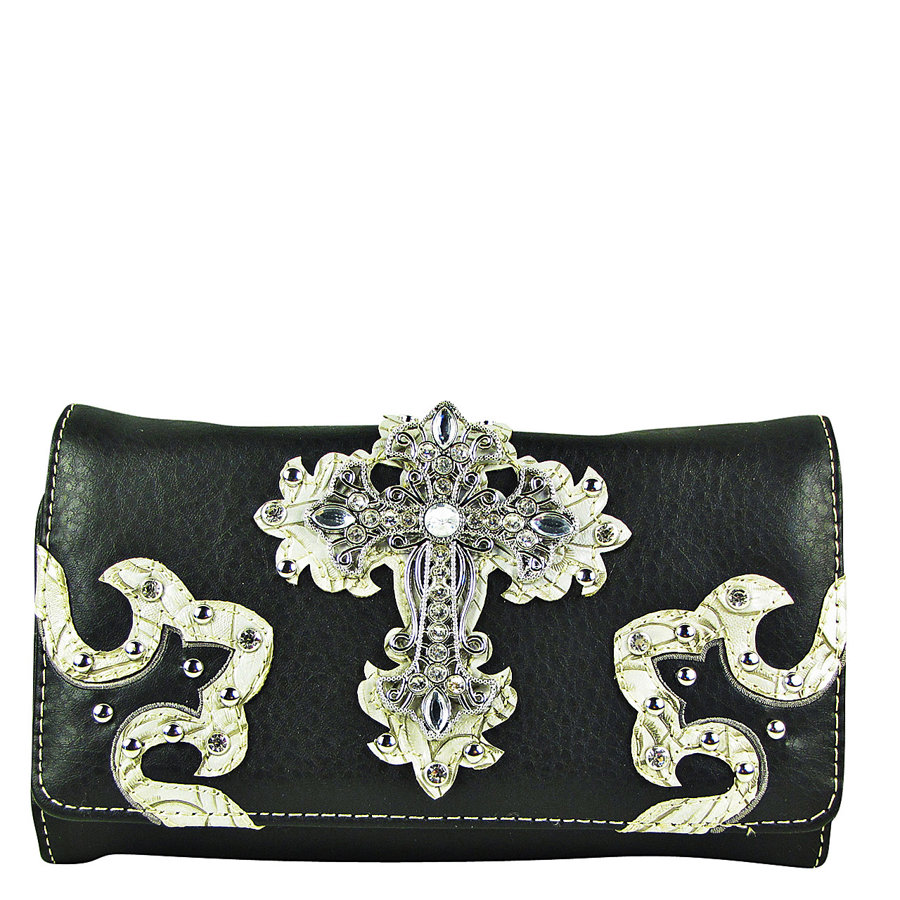 BLACK RHINESTONE CROSS STITCHING LEATHERETTE LOOK CLUTCH TRIFOLD WALLET CW1-0478BLK