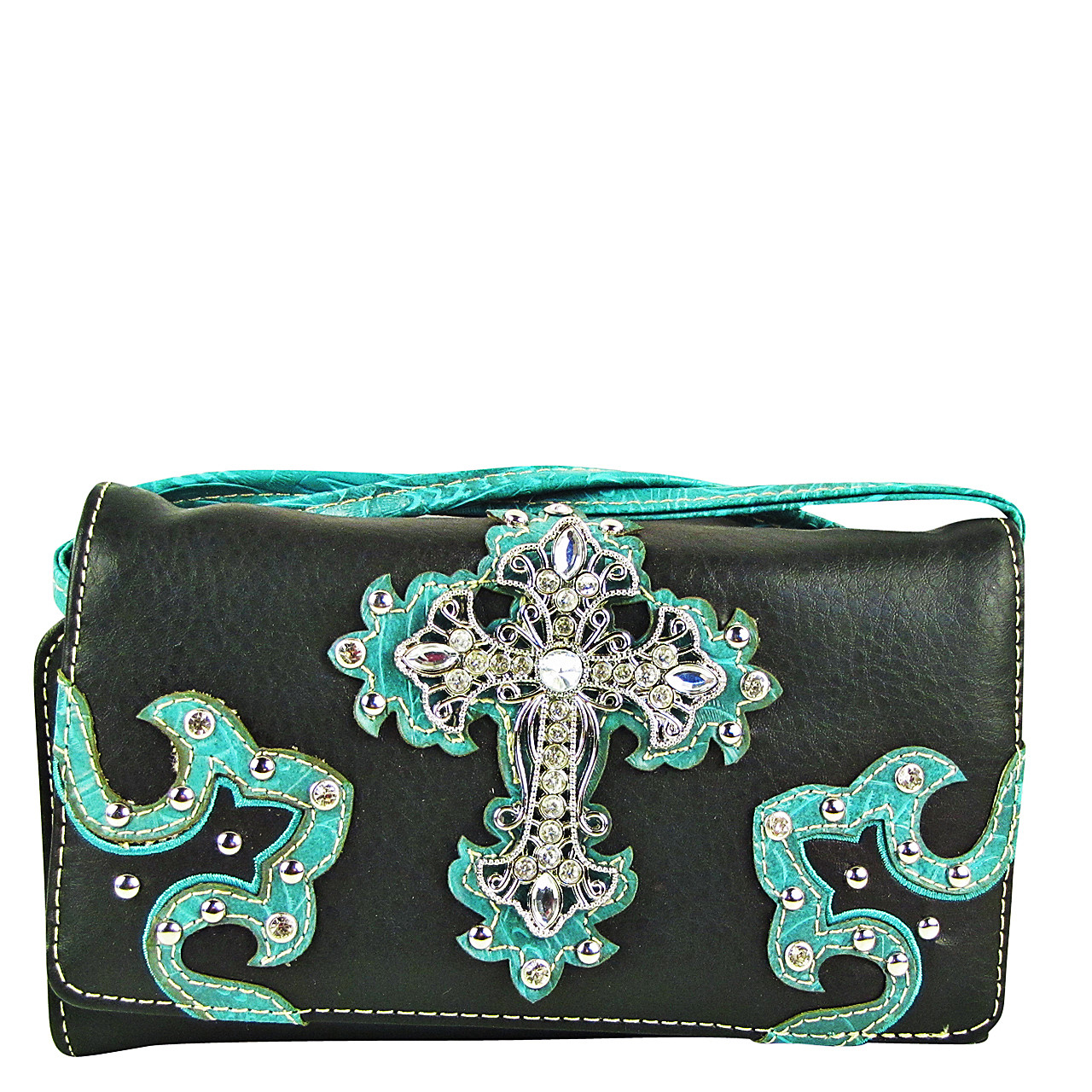 TURQUOISE RHINESTONE CROSS STITCHING LEATHERETTE LOOK CLUTCH TRIFOLD WALLET CW1-0478TRQ