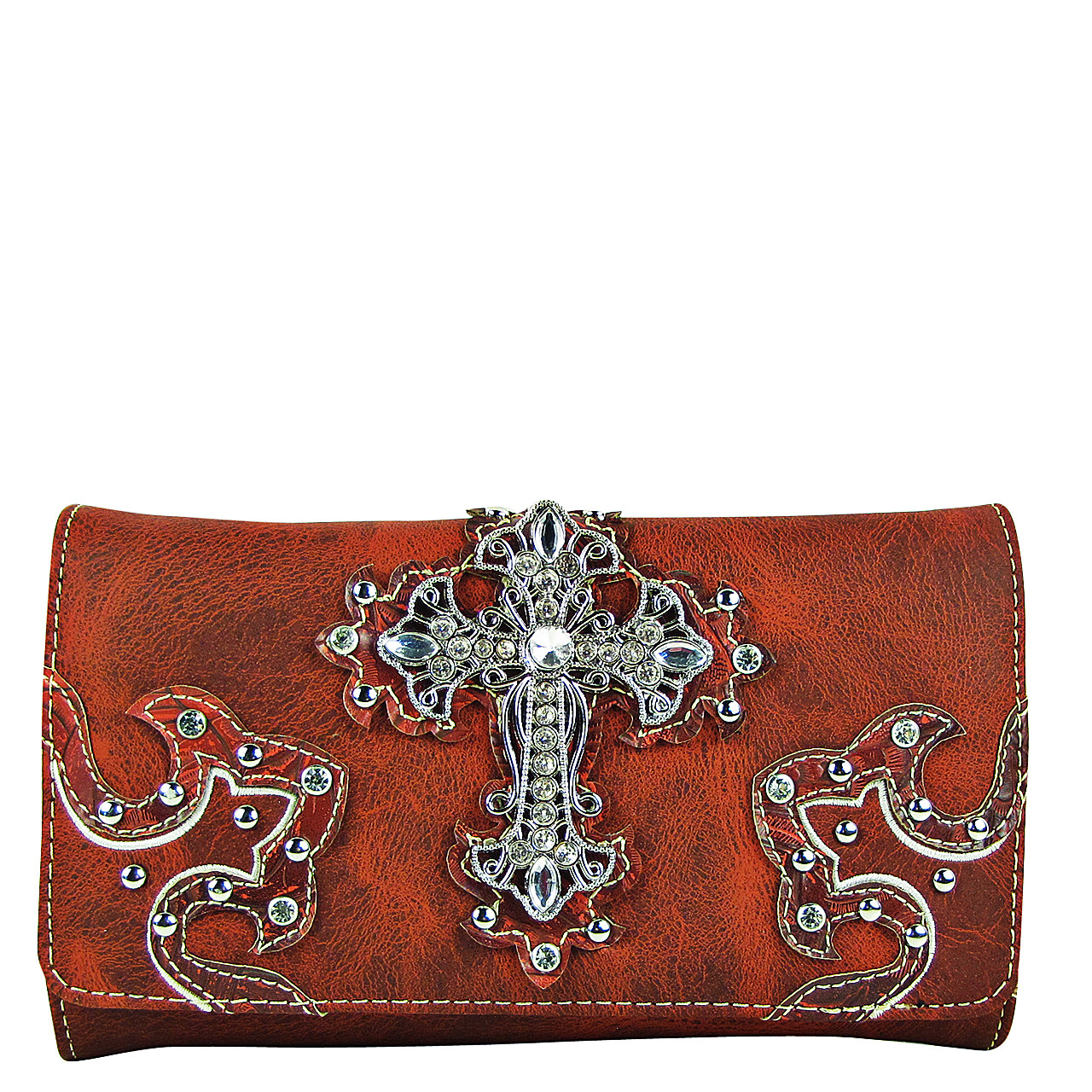 RED RHINESTONE CROSS STITCHING LEATHERETTE LOOK CLUTCH TRIFOLD WALLET CW1-0478RED