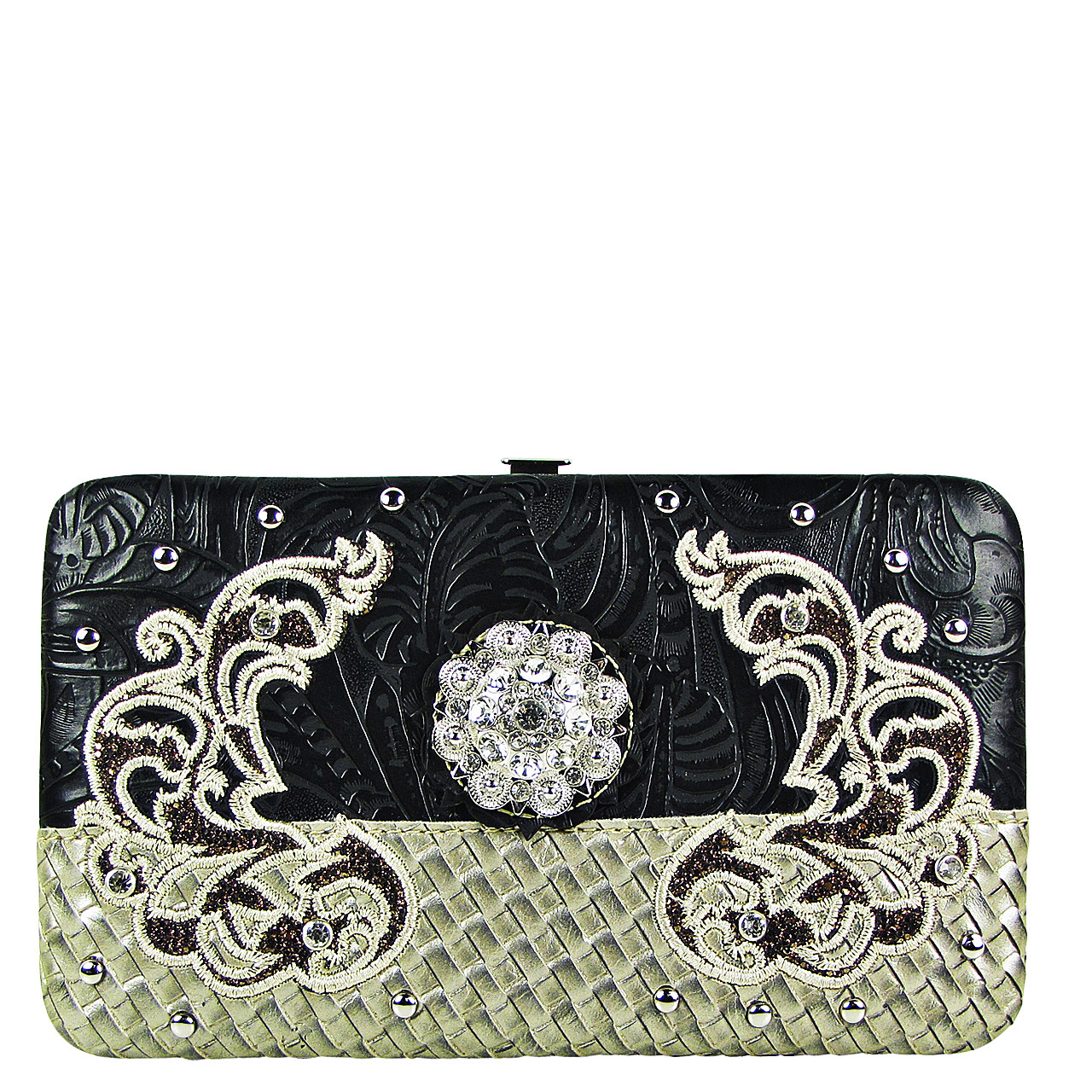 BLACK FLOWER RHINESTONE STITCHED DESIGN LOOK FLAT THICK WALLET FW2-12125BLK