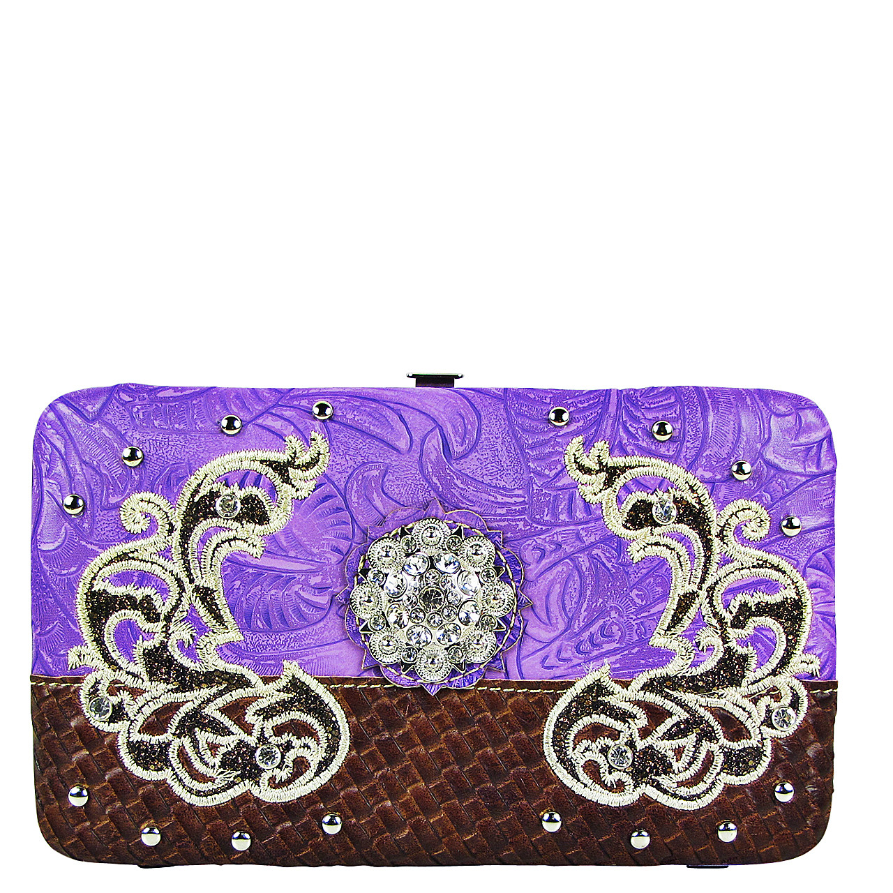 PURPLE FLOWER RHINESTONE STITCHED DESIGN LOOK FLAT THICK WALLET FW2-12125PPL