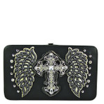 BLACK STUDDED RHINESTONE CROSS WITH STICHED WINGS LOOK FLAT THICK WALLET FW2-04128BLK