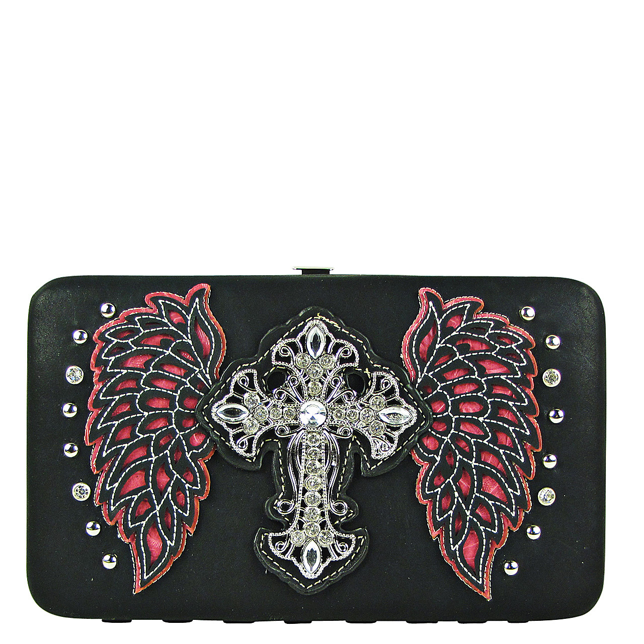 HOT PINK STUDDED RHINESTONE CROSS WITH STICHED WINGS LOOK FLAT THICK WALLET FW2-04128HPK