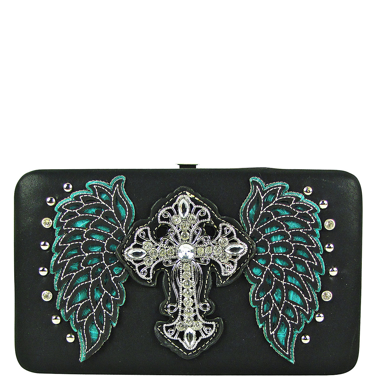 TURQUOISE STUDDED RHINESTONE CROSS WITH STICHED WINGS LOOK FLAT THICK WALLET FW2-04128TRQ